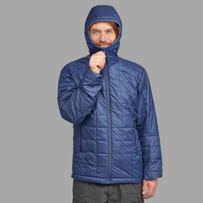 Gewatteerde jas met capuchon voor bergtrekking heren Trek 100 blauw