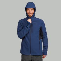 Softshell chaude coupe vent de trek montagne - TREK 500 WINDWARM bleu homme