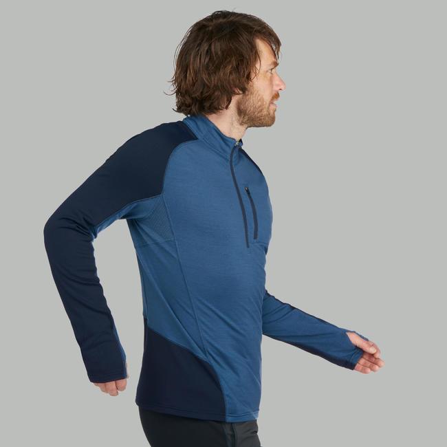 Men's Mountain Trekking Long-sleeved Merino T-Shirt - TREK 900 - Blue