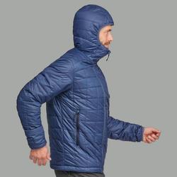 Doudoune de rando en montagne | TREK 100 CAPUCHE bleue - Homme