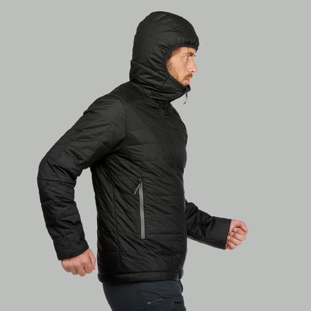Jaket Down Bertudung Trekking Gunung Pria Trek100 - Hitam