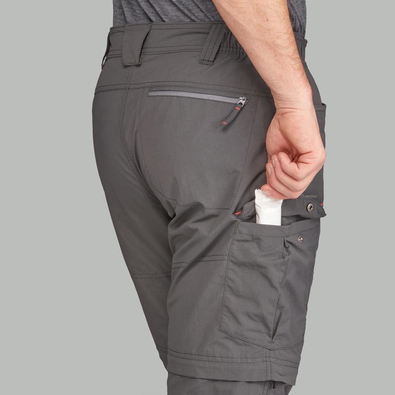Men's Mountain Trekking Modular Trousers - TREK100 Dark Grey