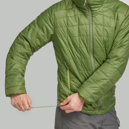 Men's Hooded Mountain Trekking Padded Jacket TREK 100 - Green