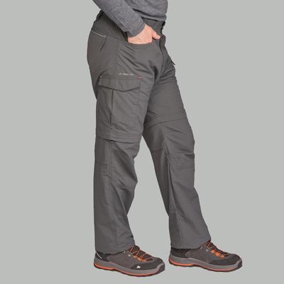 Pantalon modulable de trek montagne - TREK100 gris foncé homme
