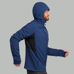Warme winddichte softshell jas voor bergtrekking heren Trek 500 Windwarm blauw