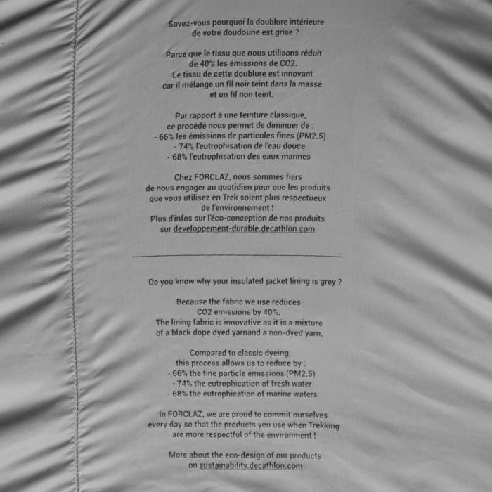 Doudoune de trek montagne - Trek 100 Noire Femme