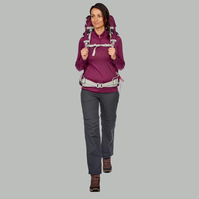 Merino shirt met lange mouwen voor bergtrekking dames Trek 500 rits paars