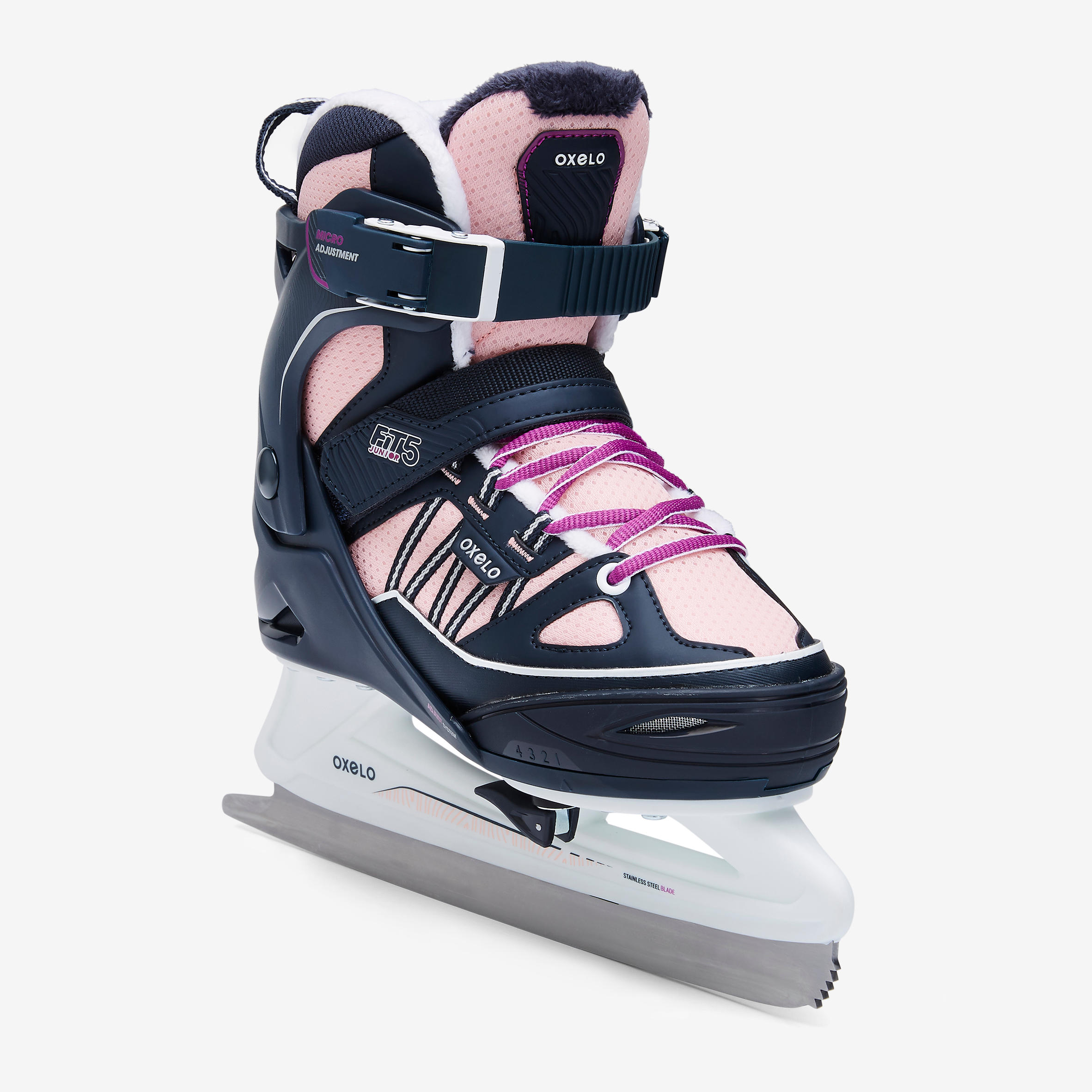 FIT500 Ice Skates - Blue/Pink