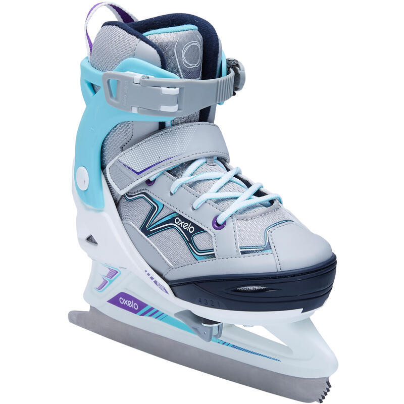 PATIN A GLACE FIT100 JR GRIS/TURQUOISE FILLE