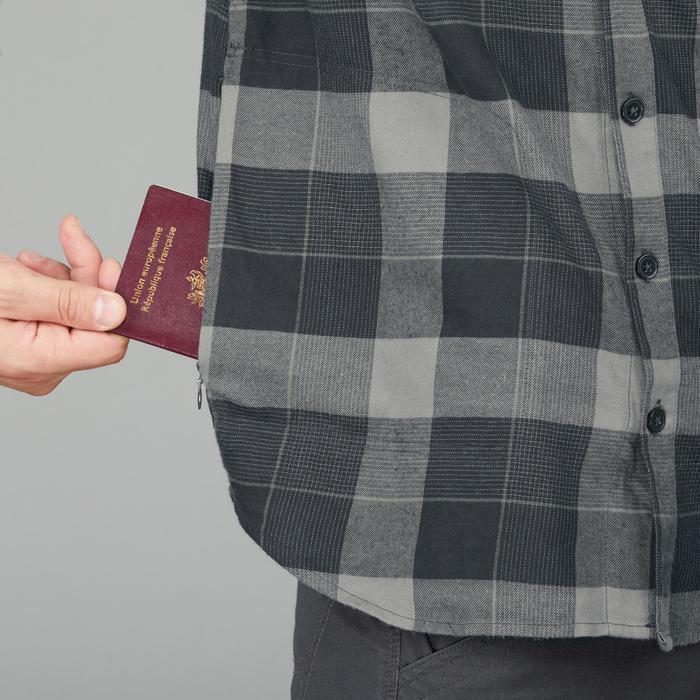 Overhemd voor backpacking heren Travel 100 zwart