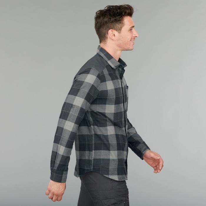 男款保暖登山長袖襯衫Travel100-黑色