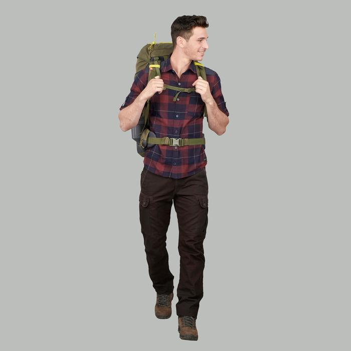 男款登山健行襯衫TRAVEL100 WARM-褐紅色