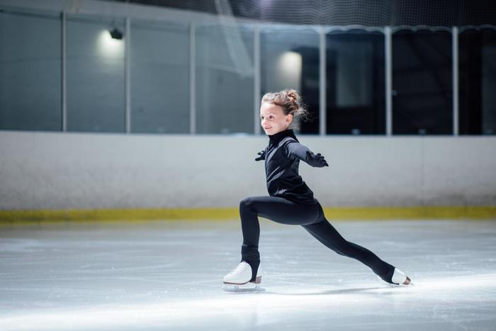 Schaatstrainingsbroek voor kinderen kunstschaatsen zwart