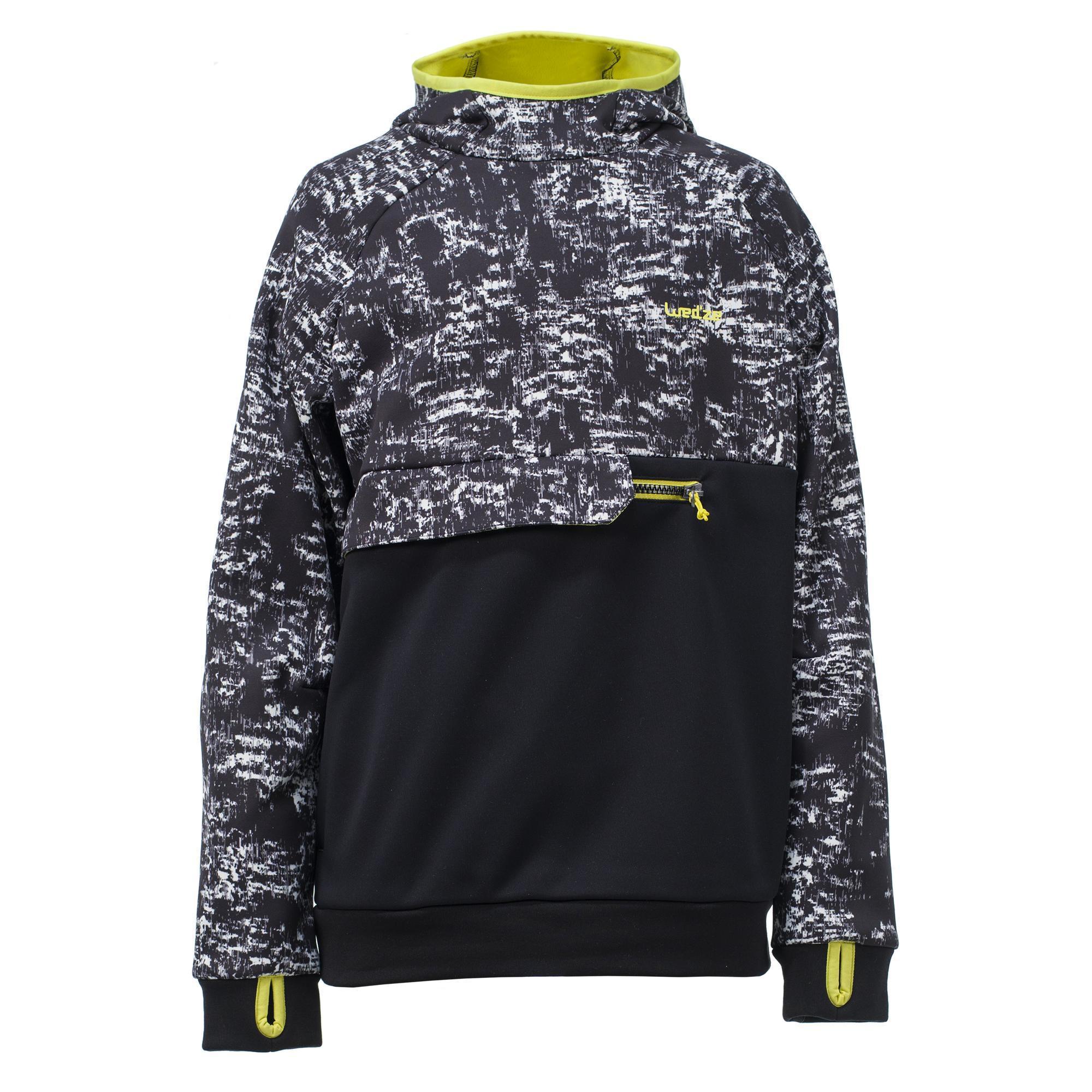 Wed'ze Jongens hoodie voor snowboarden en skiën SNB HDY opdruk zwart