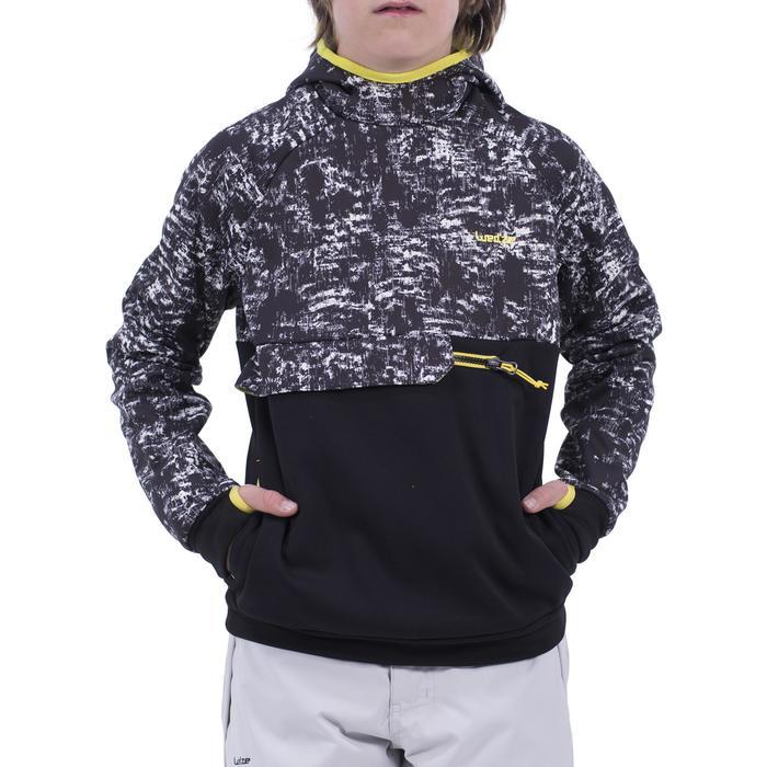 Jongens hoodie voor snowboarden en skiën SNB HDY opdruk zwart