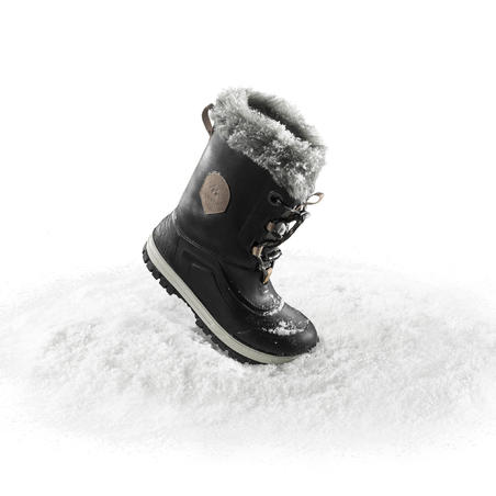 Children's Winter Hiking Boots SH500 X-Warm Leather - Black