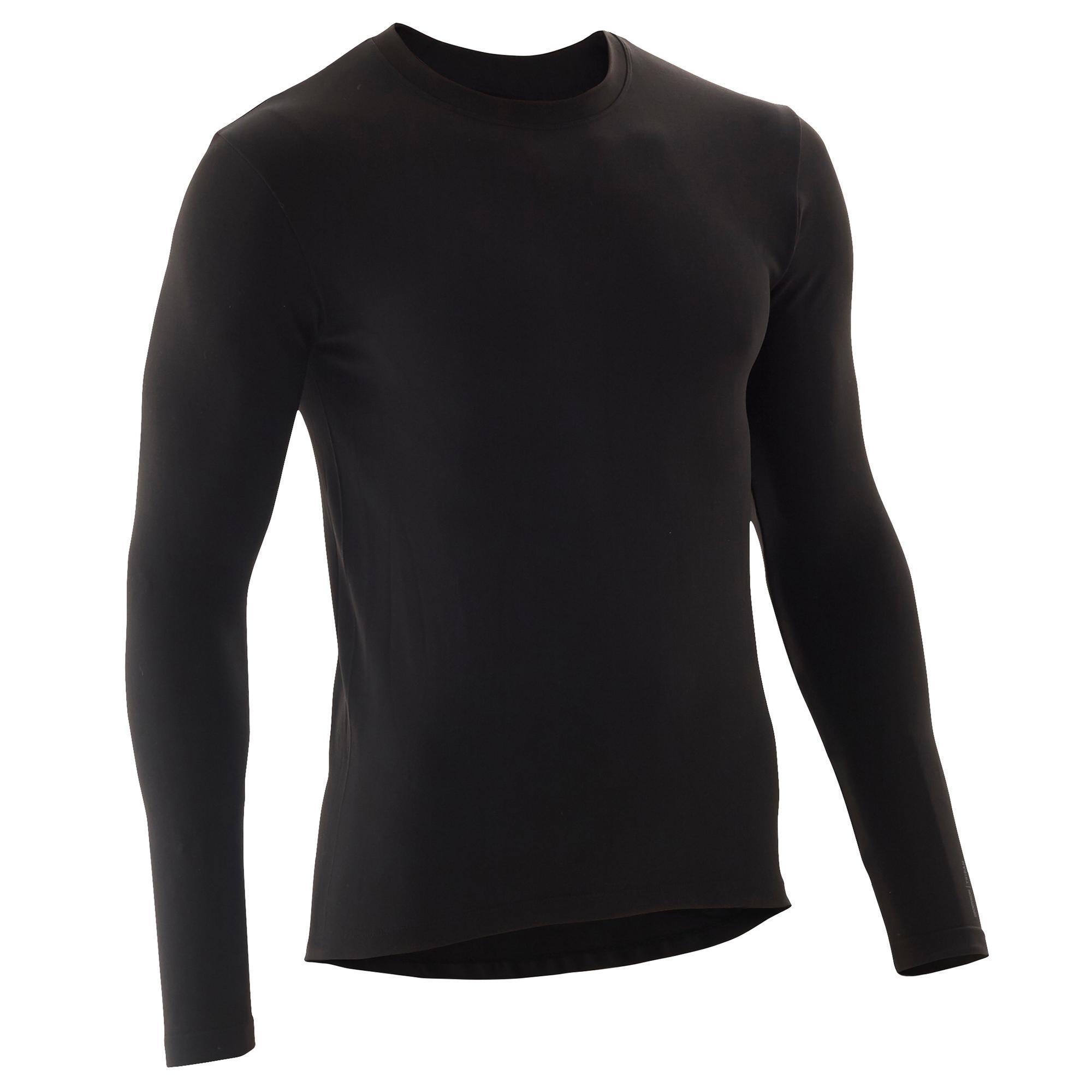 B'twin Fietsondershirt met lange mouwen 100 zwart