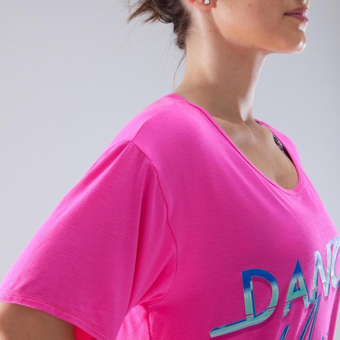 Kort dans T-shirt voor dames fuchsiaroze