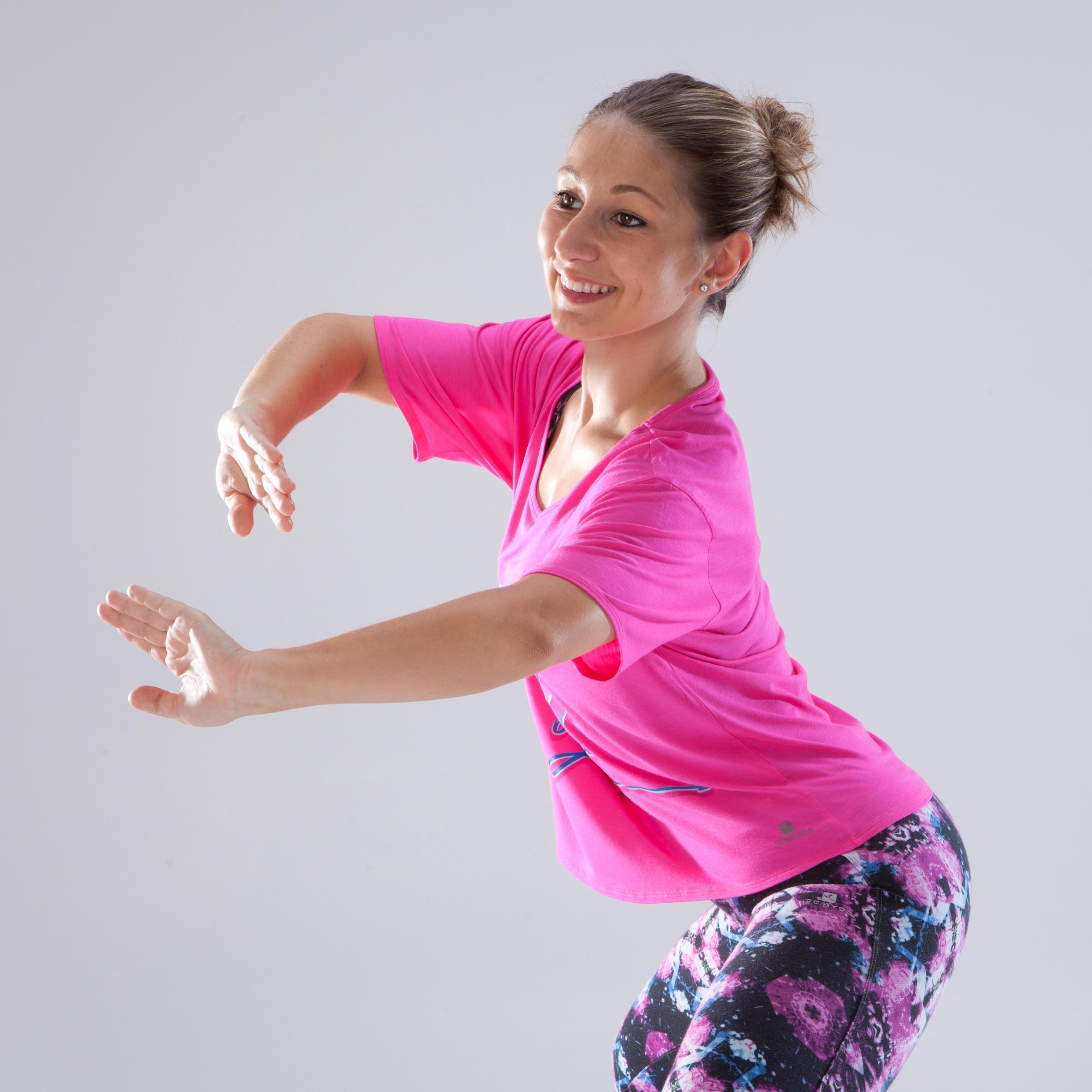 Women's Cropped Dance T-Shirt - Fuchsia