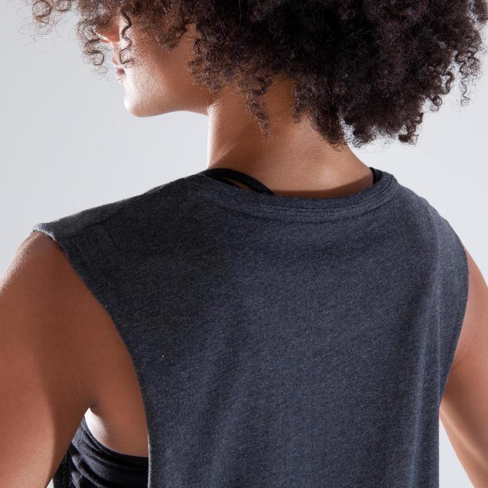 T shirt sans manche danse femme gris anthracite.