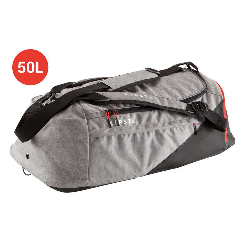 BAG TEAM SPORT - Away 50L Light Grey/Red KIPSTA