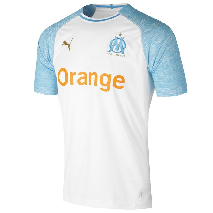 Maillot réplique de football adulte OM à domicile blanc et bleu