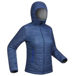 Gewatteerde damesjas met kap voor bergtrekking Trek 100 blauw