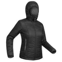 Gewatteerde jas met capuchon voor bergtrekking Trek 100 dames zwart