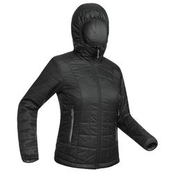 Women's Black TREK 100 HOODED Insulated Mountain TREKKING Jacket