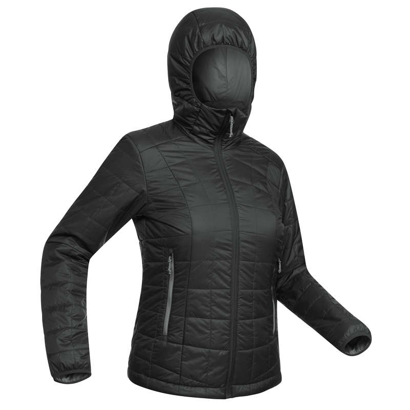 WOMEN DOWN JACKET, VEST MOUNTAIN TREK Trekking - TREK 100 WOMEN'S PADDED JACKET WITH HOOD - BLACK FORCLAZ - Trekking