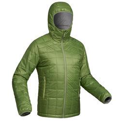 Gewatteerde jas voor bergtrekking Trek 100 heren capuchon groen