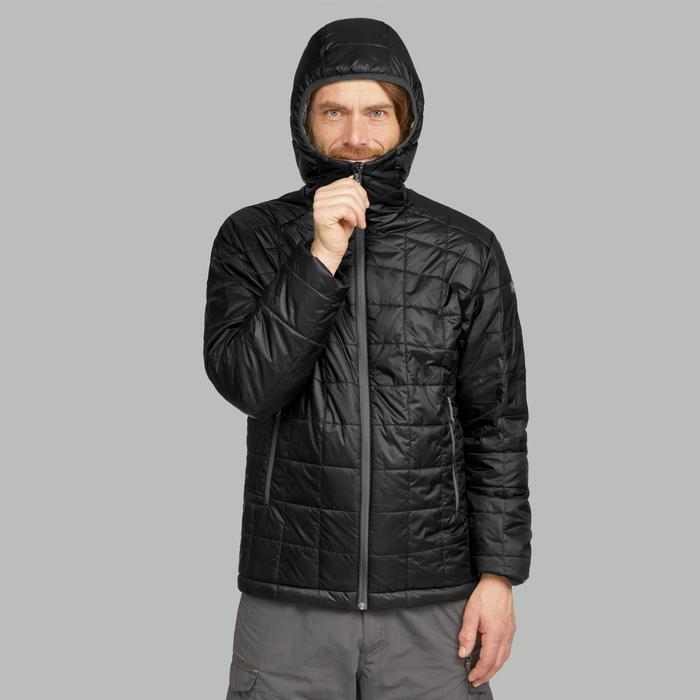Gewatteerde jas heren Trek 100 zwart