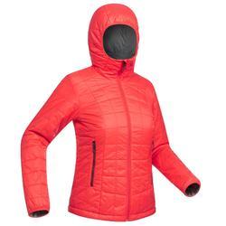 Gewatteerde damesjas met kap voor bergtrekking Trek 100 rood