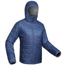Gewatteerde jas voor bergtrekking Trek 100 heren capuchon blauw