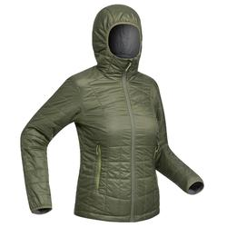 Women's Mountain Trekking Hooded Down Jacket TREK 100 - Khaki