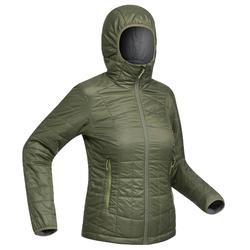 Women's khaki TREK 100 mountain TREKKING hooded down jacket