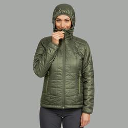 Manteau randonnée en montagne RANDONNÉE 100 capuchon femme kaki