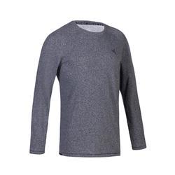 男款健身與皮拉提斯長袖T恤900 - 灰色