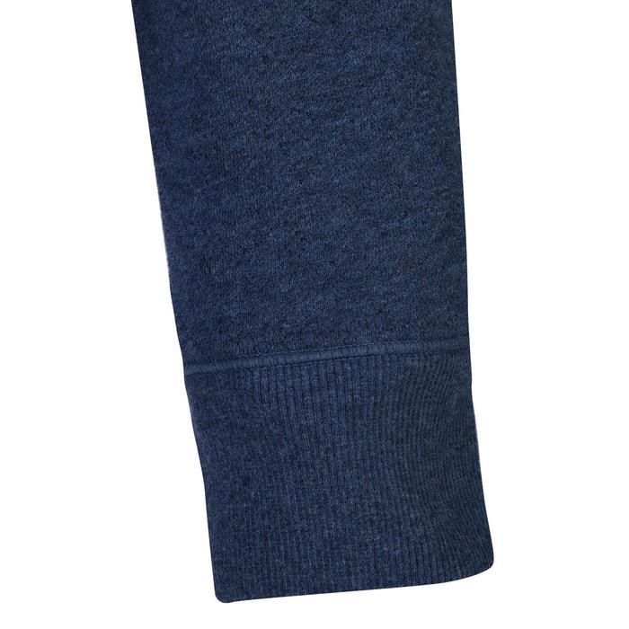 Dameshoodie met rits 520 voor gym en stretching gemêleerd blauw
