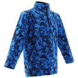 2至6歲兒童款健行刷毛外套MH 100-藍色印花款