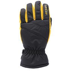兒童滑雪手套GL 100黑色黃色