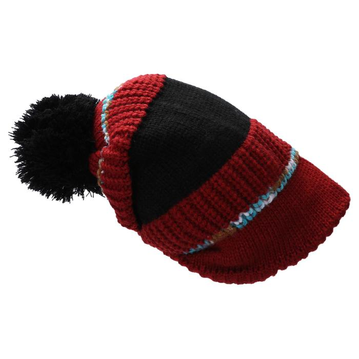 ADULT SKI HAT PLEATS BORDEAUX