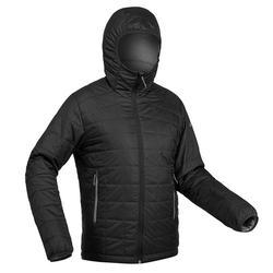 Gewatteerde jas voor bergtrekking Trek 100 heren capuchon zwart