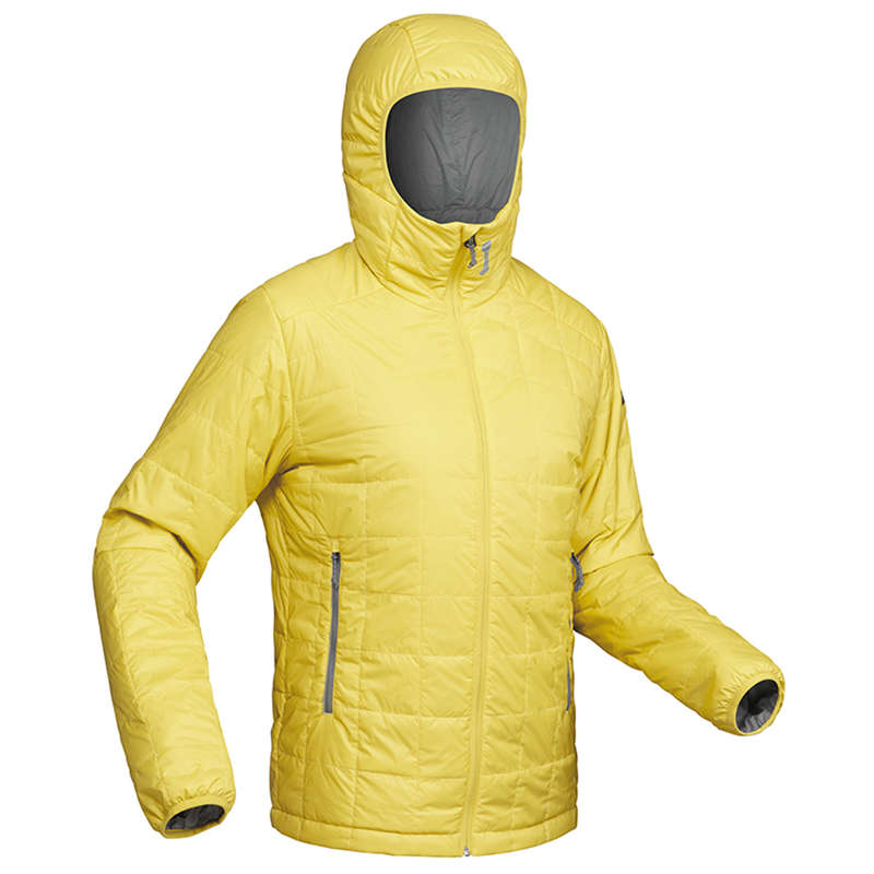 MEN DOWN JACKET, VEST MOUNTAIN TREK Trekking - TREK 100 MEN'S PADDED JACKET WITH HOOD - YELLOW  FORCLAZ - Trekking