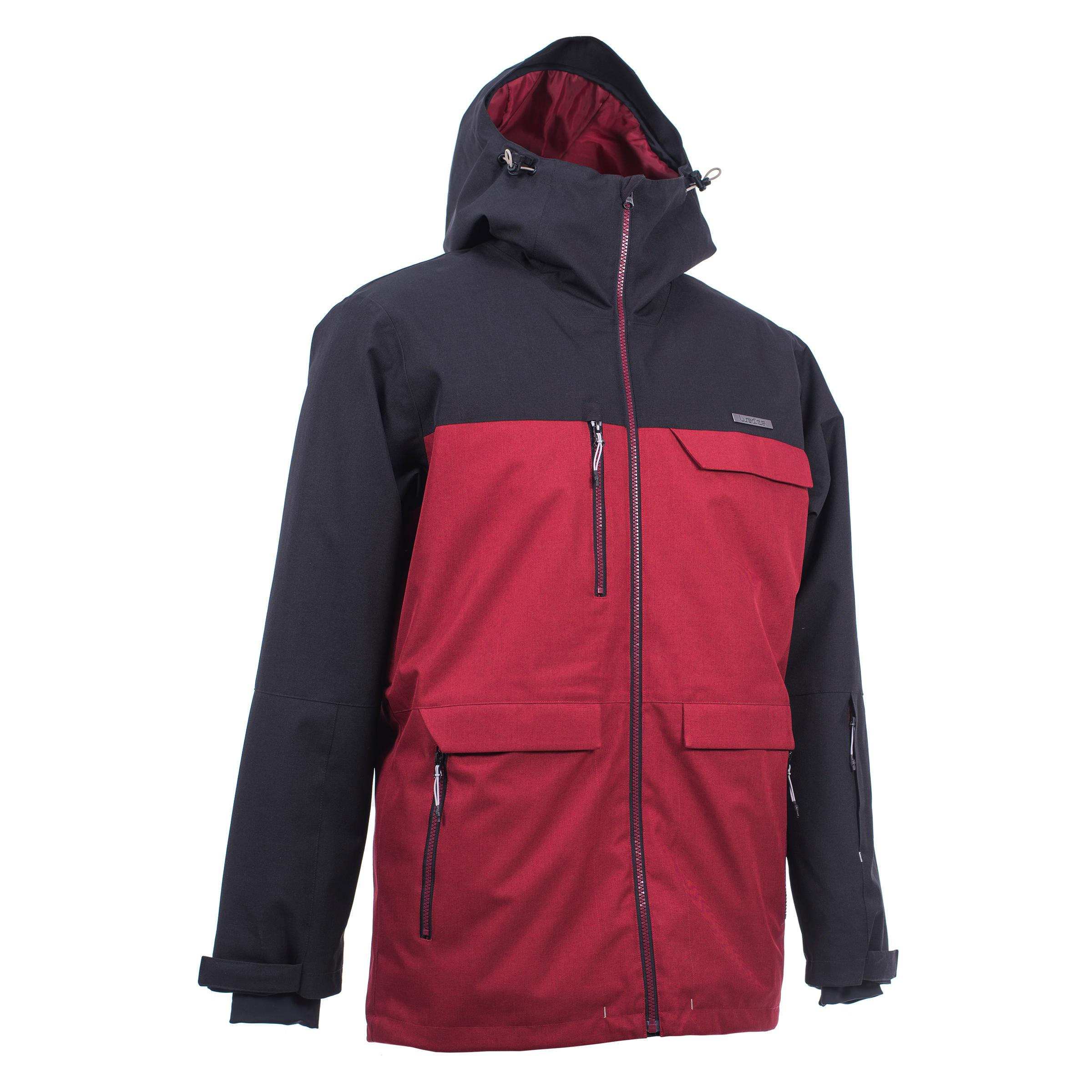 Manteau de planche à neige et de ski homme SNB JKT 500 bordeaux et noir