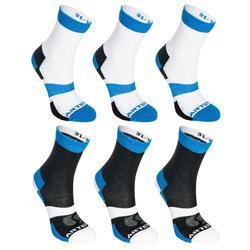 Hoge sportsokken kinderen Artengo RS 160 wit blauw set van 6 paar