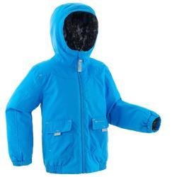 青少年保暖雪地健行外套SH100-藍色