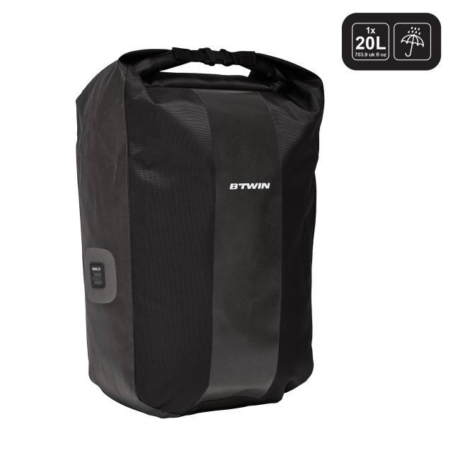 sacoche velo 500 sur porte bagages 500 20l impermeable noir b 39 twin decathlonsav. Black Bedroom Furniture Sets. Home Design Ideas