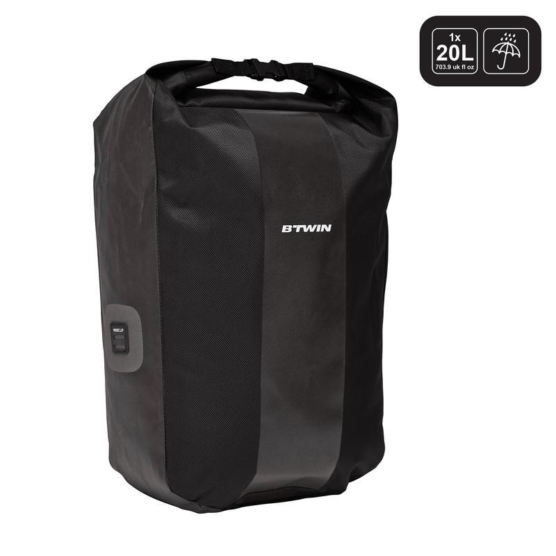 7d857c57019b 500 Waterproof Pannier Rack Bike Bag 20L - Black
