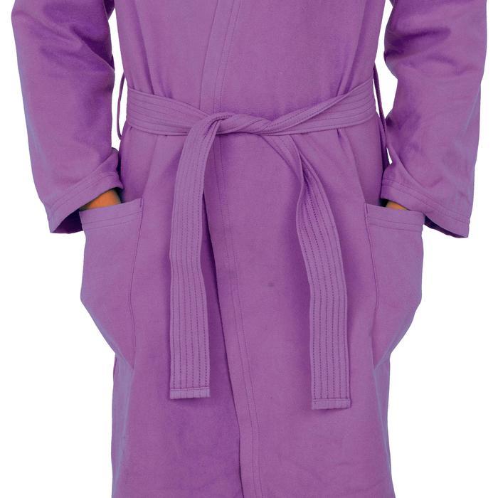Microvezel kinderbadjas met kap, zakken en riem paars